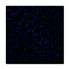 Hexagon2 Black Marble & Blue Grunge Face Towel by trendistuff