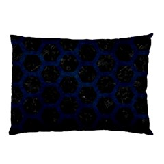 Hexagon2 Black Marble & Blue Grunge Pillow Case by trendistuff