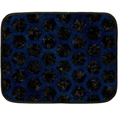 Hexagon2 Black Marble & Blue Grunge Fleece Blanket (mini) by trendistuff