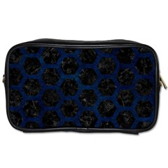Hexagon2 Black Marble & Blue Grunge Toiletries Bag (two Sides) by trendistuff