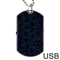Hexagon2 Black Marble & Blue Grunge Dog Tag Usb Flash (one Side) by trendistuff