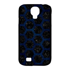 Hexagon2 Black Marble & Blue Grunge Samsung Galaxy S4 Classic Hardshell Case (pc+silicone) by trendistuff