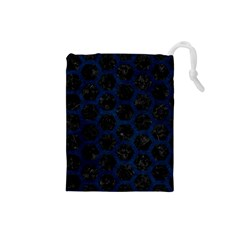 Hexagon2 Black Marble & Blue Grunge Drawstring Pouch (small) by trendistuff