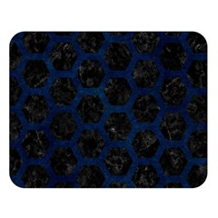 Hexagon2 Black Marble & Blue Grunge Double Sided Flano Blanket (large) by trendistuff