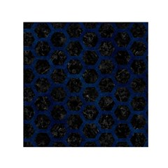 Hexagon2 Black Marble & Blue Grunge Small Satin Scarf (square) by trendistuff