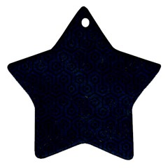 Hexagon1 Black Marble & Blue Grunge (r) Star Ornament (two Sides) by trendistuff