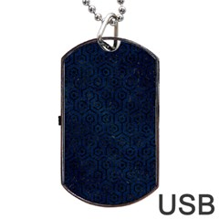 Hexagon1 Black Marble & Blue Grunge (r) Dog Tag Usb Flash (two Sides) by trendistuff