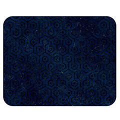 Hexagon1 Black Marble & Blue Grunge (r) Double Sided Flano Blanket (medium) by trendistuff