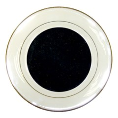 Hexagon1 Black Marble & Blue Grunge Porcelain Plate by trendistuff