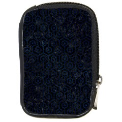 Hexagon1 Black Marble & Blue Grunge Compact Camera Leather Case by trendistuff