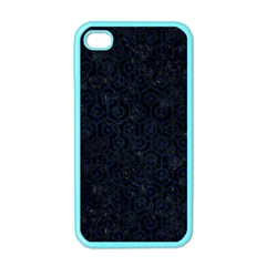 Hexagon1 Black Marble & Blue Grunge Apple Iphone 4 Case (color) by trendistuff