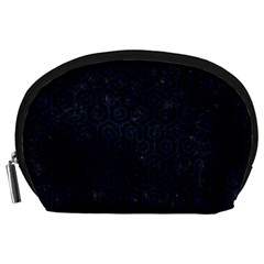 Hexagon1 Black Marble & Blue Grunge Accessory Pouch (large) by trendistuff