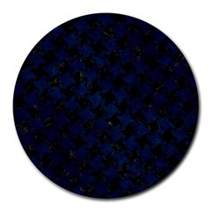 Houndstooth2 Black Marble & Blue Grunge Round Mousepad by trendistuff