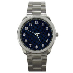 Houndstooth2 Black Marble & Blue Grunge Sport Metal Watch by trendistuff