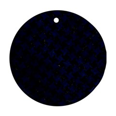Houndstooth2 Black Marble & Blue Grunge Round Ornament (two Sides) by trendistuff