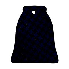 Houndstooth2 Black Marble & Blue Grunge Bell Ornament (two Sides) by trendistuff