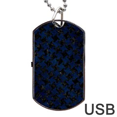 Houndstooth2 Black Marble & Blue Grunge Dog Tag Usb Flash (one Side) by trendistuff
