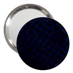 Houndstooth2 Black Marble & Blue Grunge 3  Handbag Mirror by trendistuff