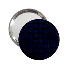 Houndstooth1 Black Marble & Blue Grunge 2 25  Handbag Mirror by trendistuff