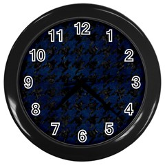 Houndstooth1 Black Marble & Blue Grunge Wall Clock (black) by trendistuff