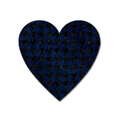 Houndstooth1 Black Marble & Blue Grunge Magnet (heart) by trendistuff