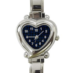Houndstooth1 Black Marble & Blue Grunge Heart Italian Charm Watch by trendistuff
