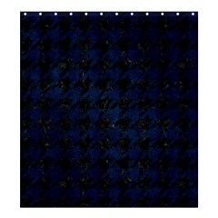Houndstooth1 Black Marble & Blue Grunge Shower Curtain 66  X 72  (large) by trendistuff