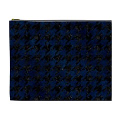 Houndstooth1 Black Marble & Blue Grunge Cosmetic Bag (xl) by trendistuff
