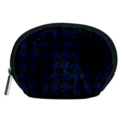Houndstooth1 Black Marble & Blue Grunge Accessory Pouch (medium) by trendistuff
