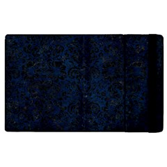 Damask2 Black Marble & Blue Grunge (r) Apple Ipad 3/4 Flip Case by trendistuff