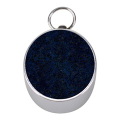 Damask2 Black Marble & Blue Grunge (r) Silver Compass (mini) by trendistuff