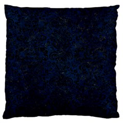 Damask2 Black Marble & Blue Grunge (r) Large Flano Cushion Case (two Sides) by trendistuff