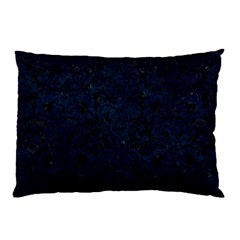 Damask2 Black Marble & Blue Grunge Pillow Case (two Sides) by trendistuff