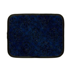 Damask1 Black Marble & Blue Grunge (r) Netbook Case (small) by trendistuff