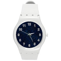 Damask1 Black Marble & Blue Grunge (r) Round Plastic Sport Watch (m) by trendistuff