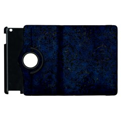 Damask1 Black Marble & Blue Grunge (r) Apple Ipad 2 Flip 360 Case by trendistuff