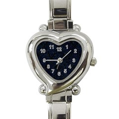 Damask1 Black Marble & Blue Grunge Heart Italian Charm Watch by trendistuff