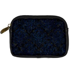 Damask1 Black Marble & Blue Grunge Digital Camera Leather Case by trendistuff