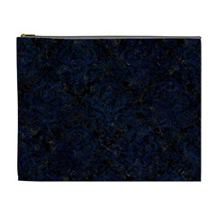 Damask1 Black Marble & Blue Grunge Cosmetic Bag (xl) by trendistuff