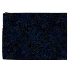 Damask1 Black Marble & Blue Grunge Cosmetic Bag (xxl) by trendistuff