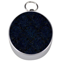 Damask1 Black Marble & Blue Grunge Silver Compass by trendistuff