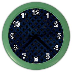 Circles3 Black Marble & Blue Grunge Color Wall Clock by trendistuff