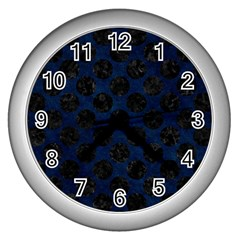Circles2 Black Marble & Blue Grunge (r) Wall Clock (silver) by trendistuff