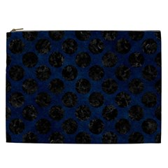 Circles2 Black Marble & Blue Grunge (r) Cosmetic Bag (xxl) by trendistuff