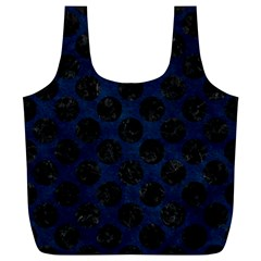 Circles2 Black Marble & Blue Grunge (r) Full Print Recycle Bag (xl) by trendistuff