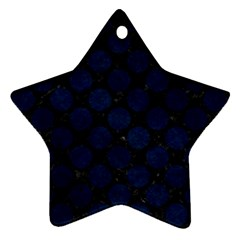 Circles2 Black Marble & Blue Grunge Star Ornament (two Sides) by trendistuff