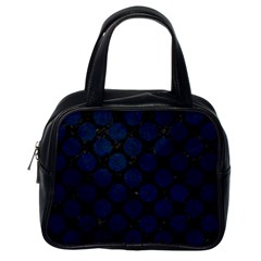 Circles2 Black Marble & Blue Grunge Classic Handbag (one Side) by trendistuff