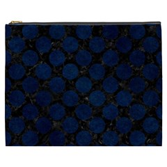 Circles2 Black Marble & Blue Grunge Cosmetic Bag (xxxl) by trendistuff