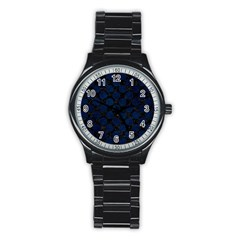 Circles2 Black Marble & Blue Grunge Stainless Steel Round Watch