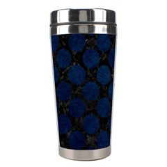 Circles2 Black Marble & Blue Grunge Stainless Steel Travel Tumbler by trendistuff